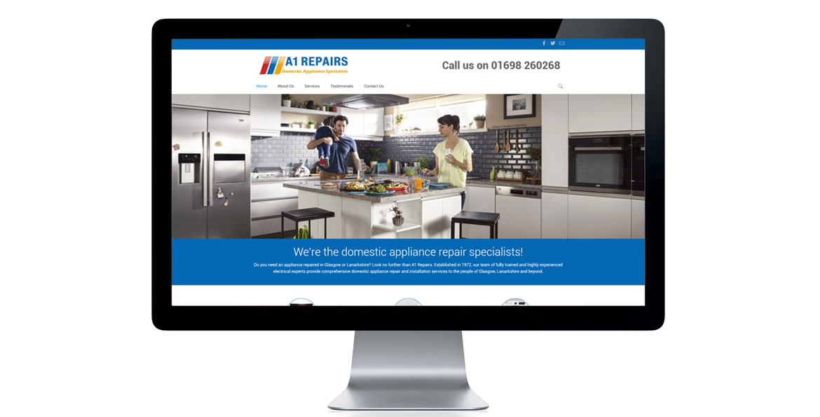 Website design for Lanarkshire based domestic appliance repair company, A1 Repairs.