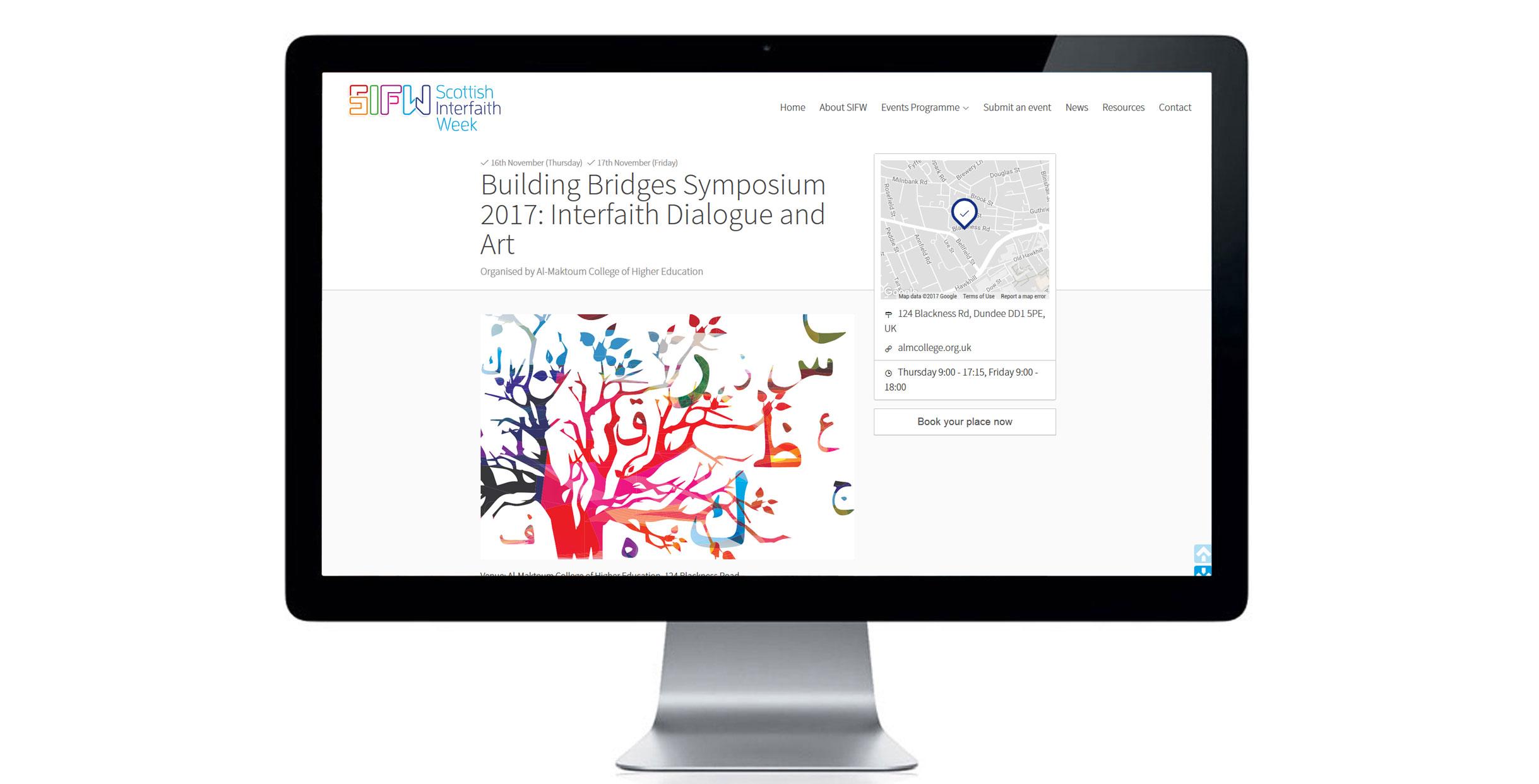 Website design for Scottish based charity event, Scottish Interfaith Week.