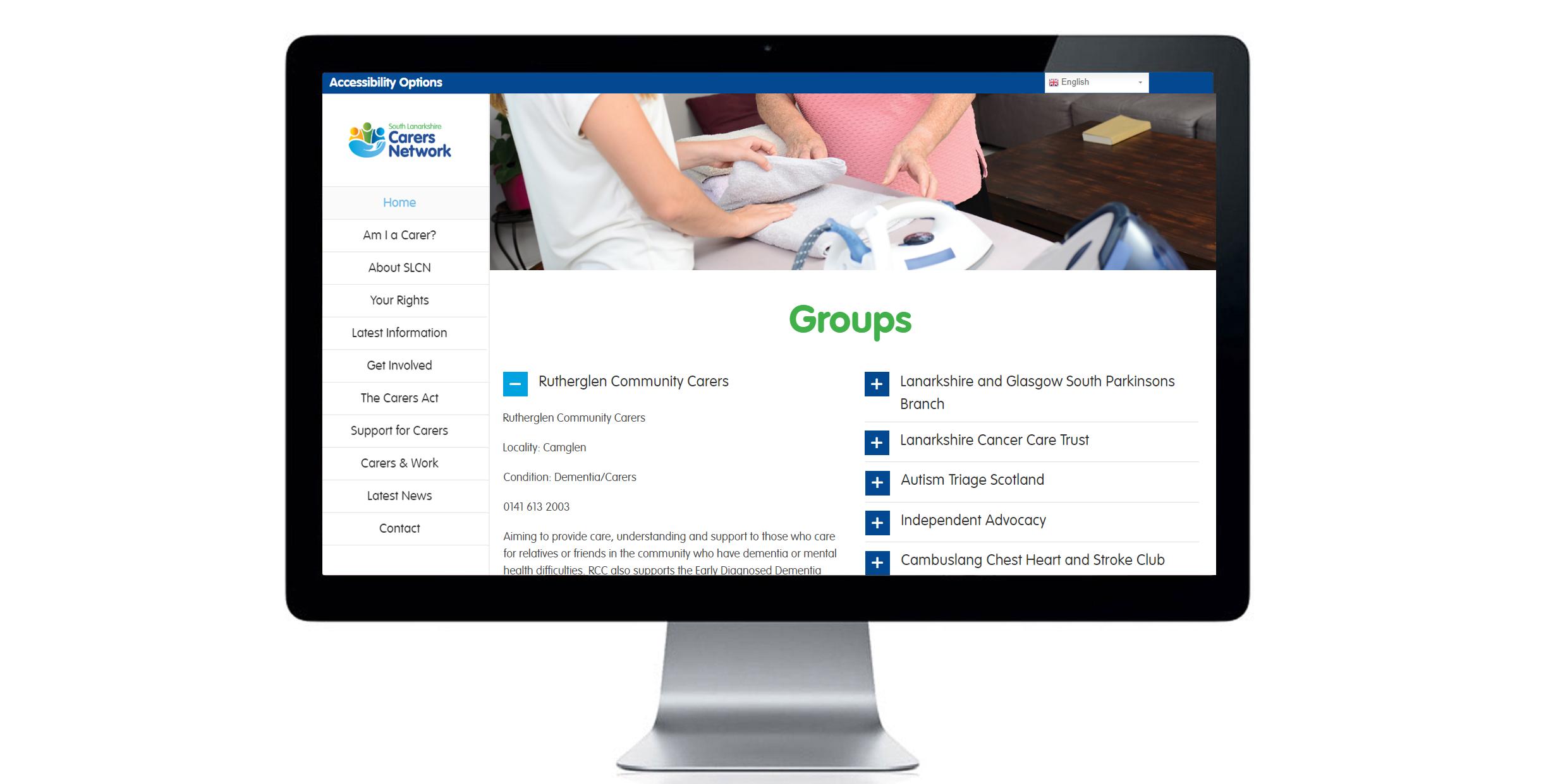Groups page of South Lanarkshire Carers Network website. Website design, digital design, marketing material.