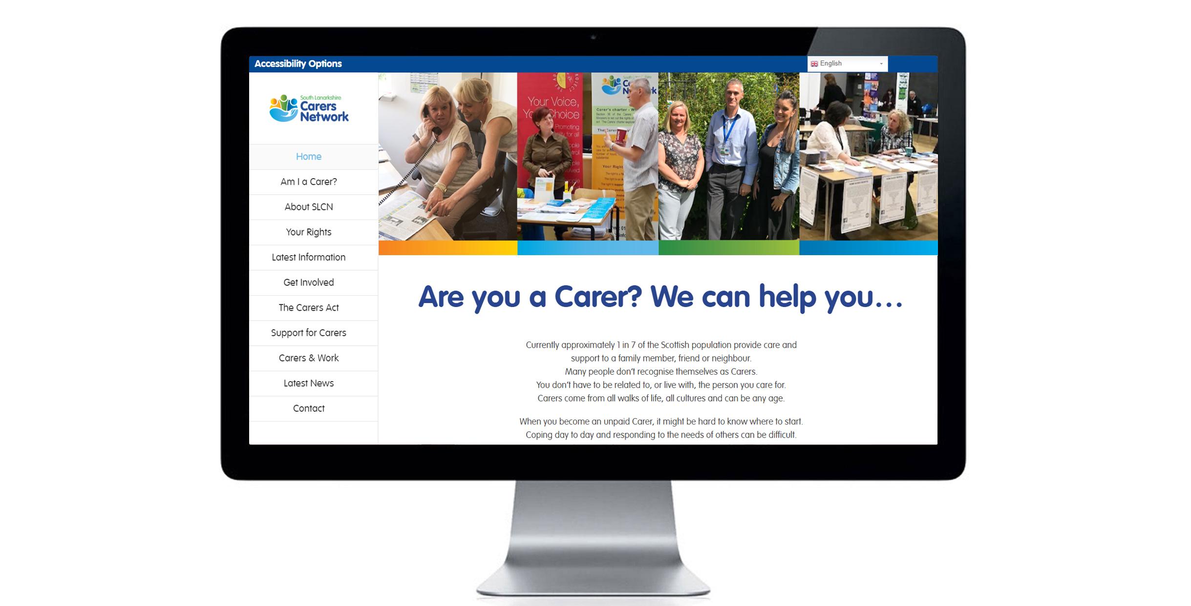 Home page of South Lanarkshire Carers Network website. Website design, digital design, marketing material.