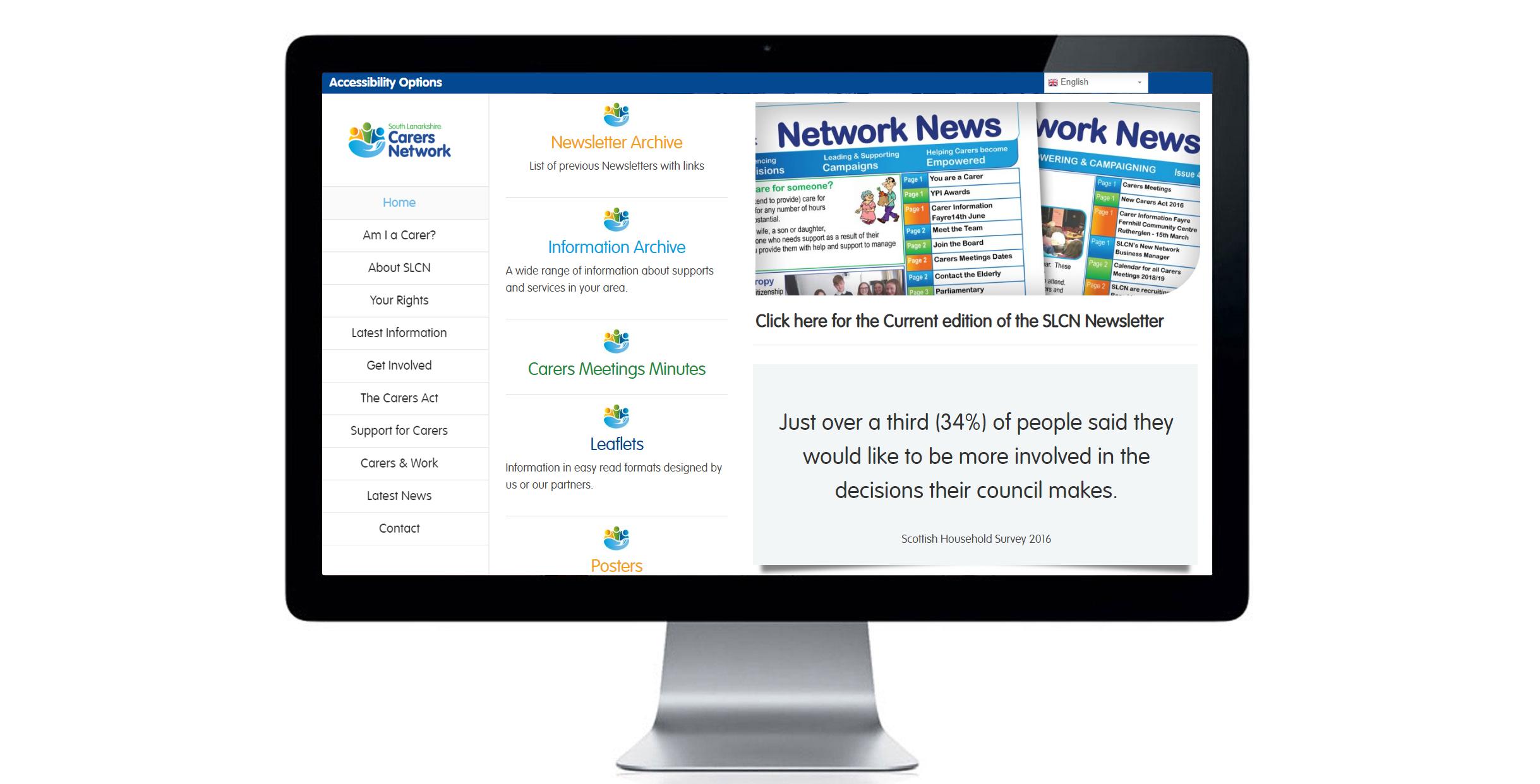 Section landing page of South Lanarkshire Carers Network website. Website design, digital design, marketing material.