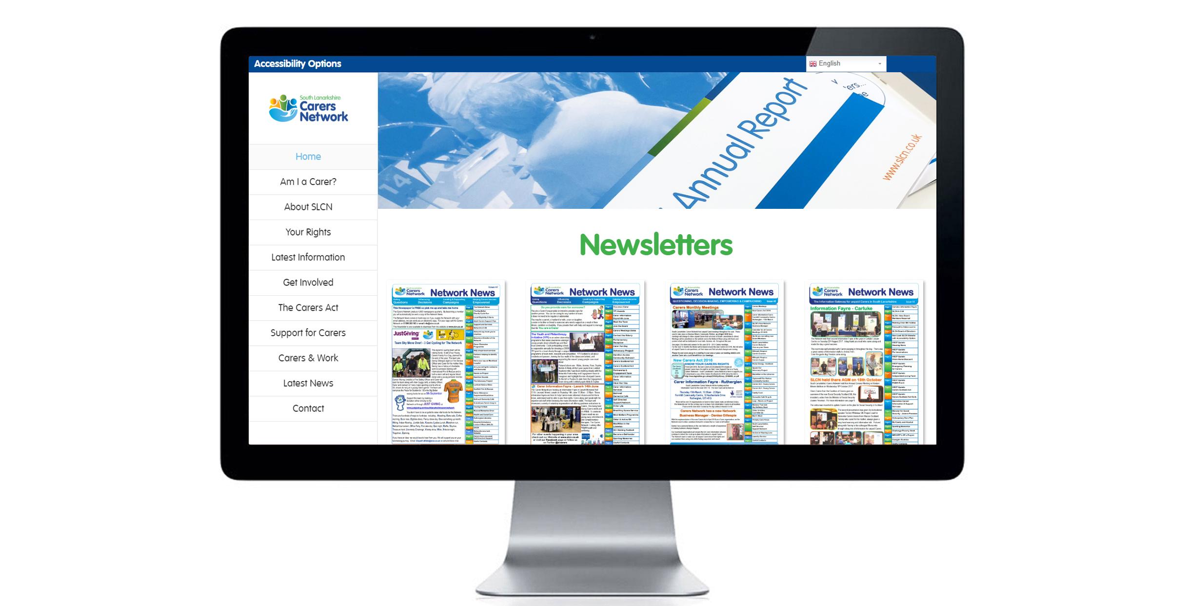 Newsletter archive page of South Lanarkshire Carers Network website. Website design, digital design, marketing material.