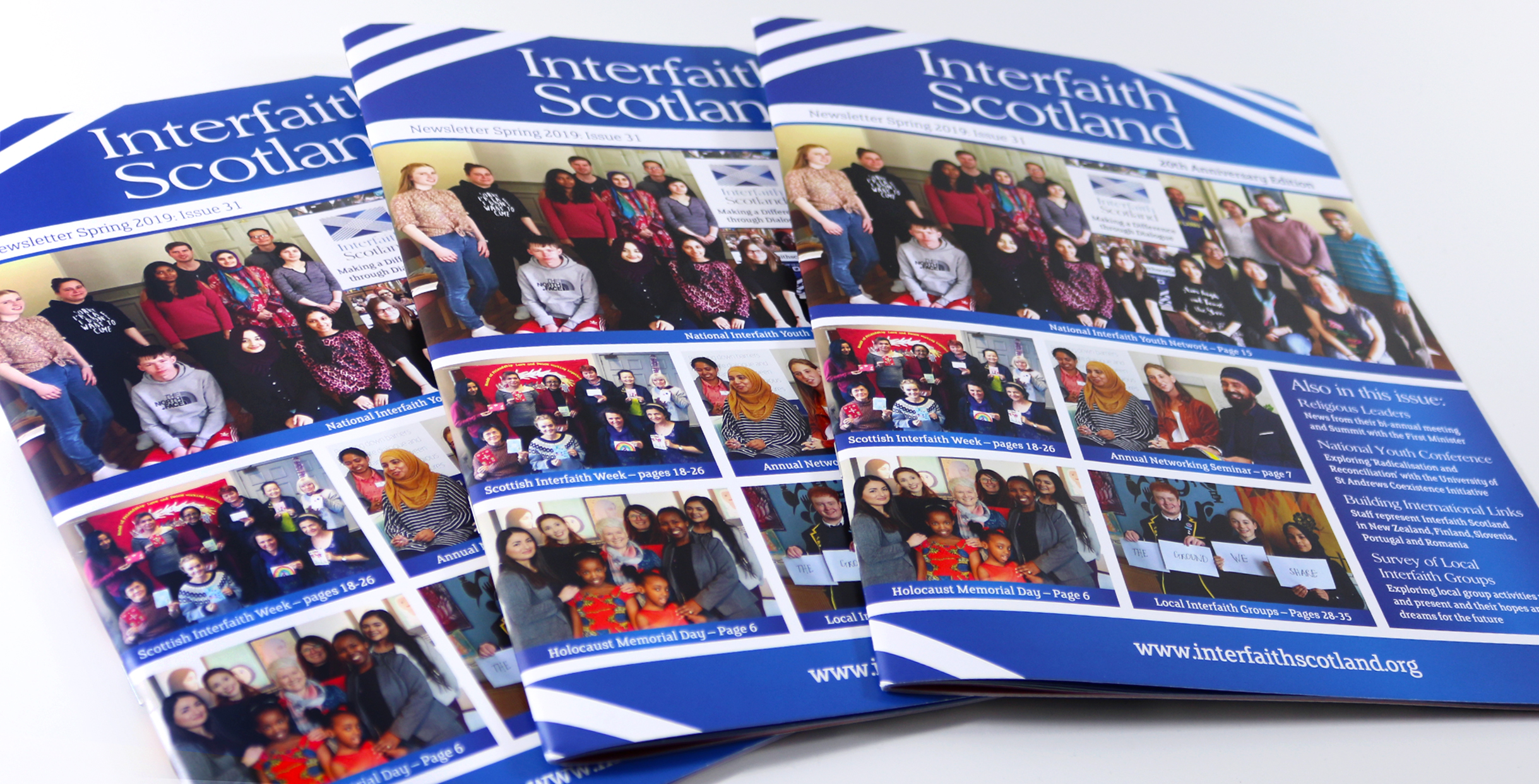 Newsletter design for Glasgow based charity, Interfaith Scotland.
